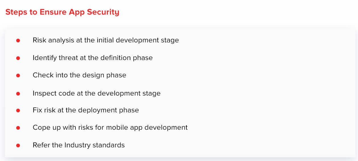 Steps to ensure mobile app security