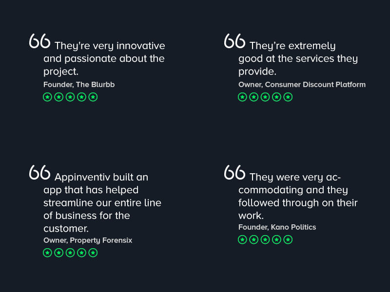 Appinvenitv - Client feedbacks on Mobile App Development Services