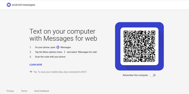 Android Messages App for Web