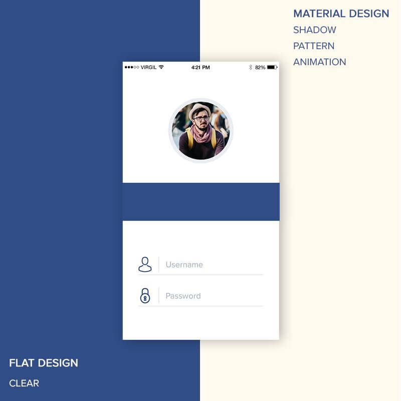 Difference in Material and Flat Design