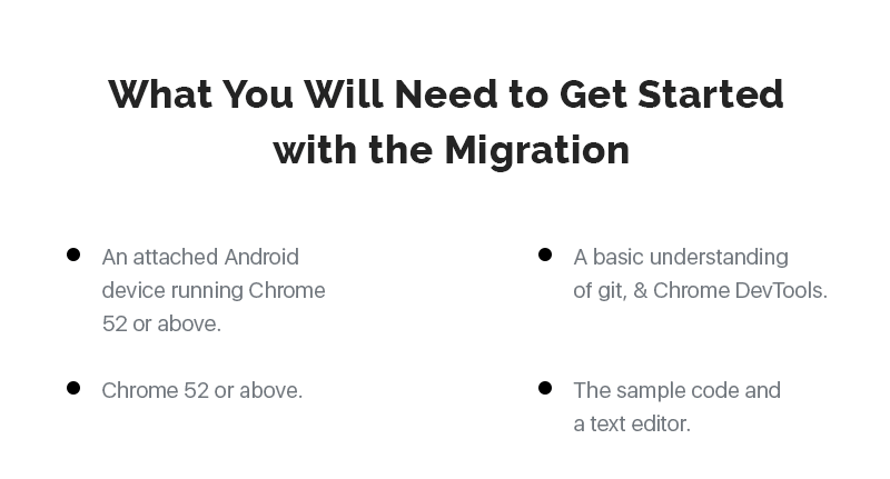 Elements you would need to migrate to Progressive Web Apps