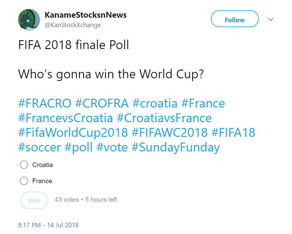 World Cup FIFA 2018 finale Poll