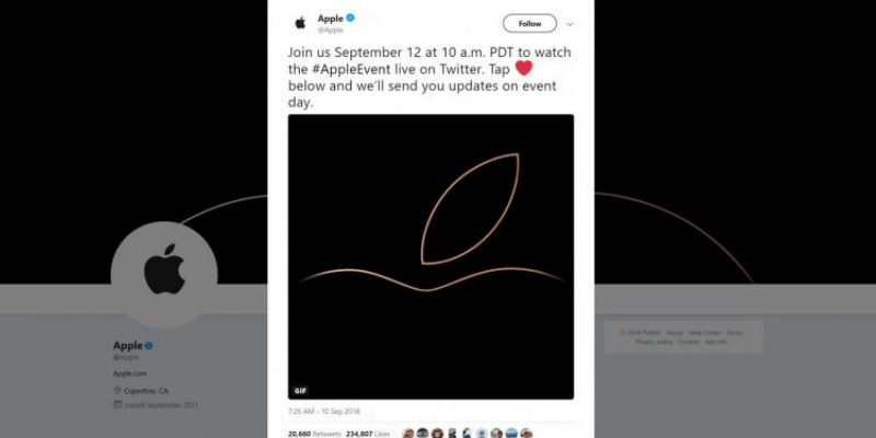 Apple Event Time real-time updates on Twitter