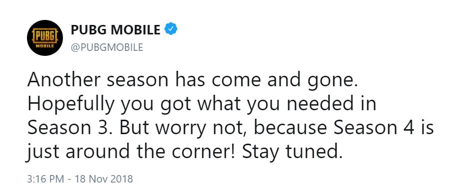 PUBG MOBILE Season 4 announcement on Twitter