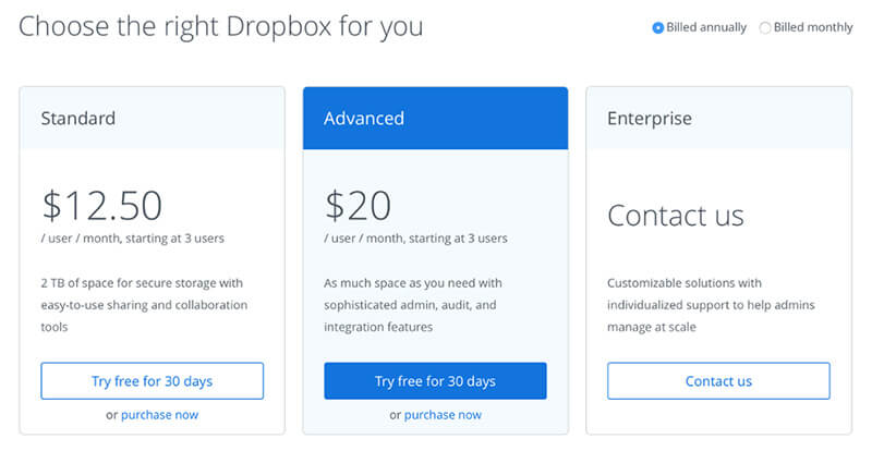 Dropbox-Business-pricing-tiers