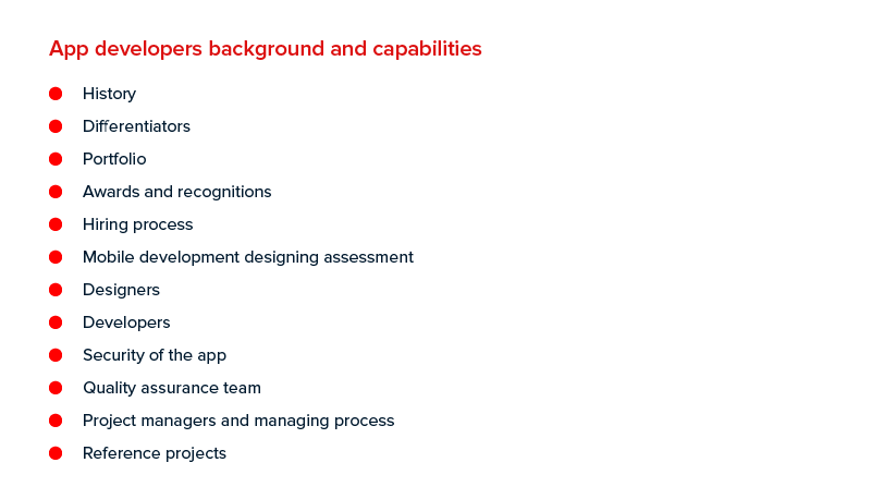 App Developers background and capabilities