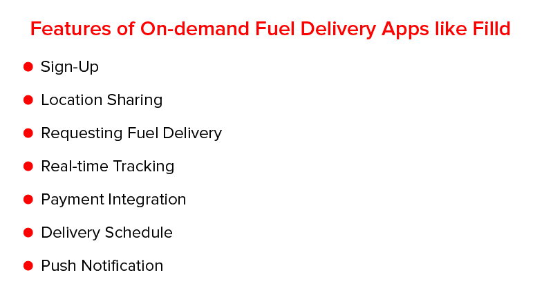 Features of On-Demand Fuel Delivery Apps like Filld