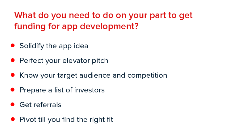 What do you need to do on your part to get funding for app development