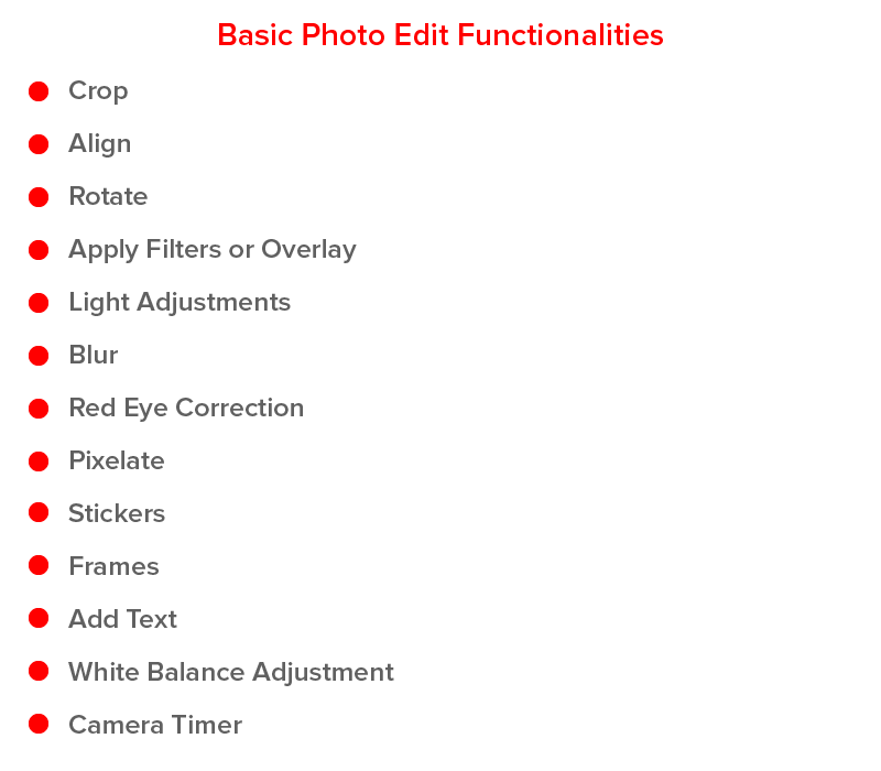 basic photo editing functionalities