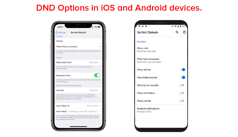 DND Options in ios and android devices