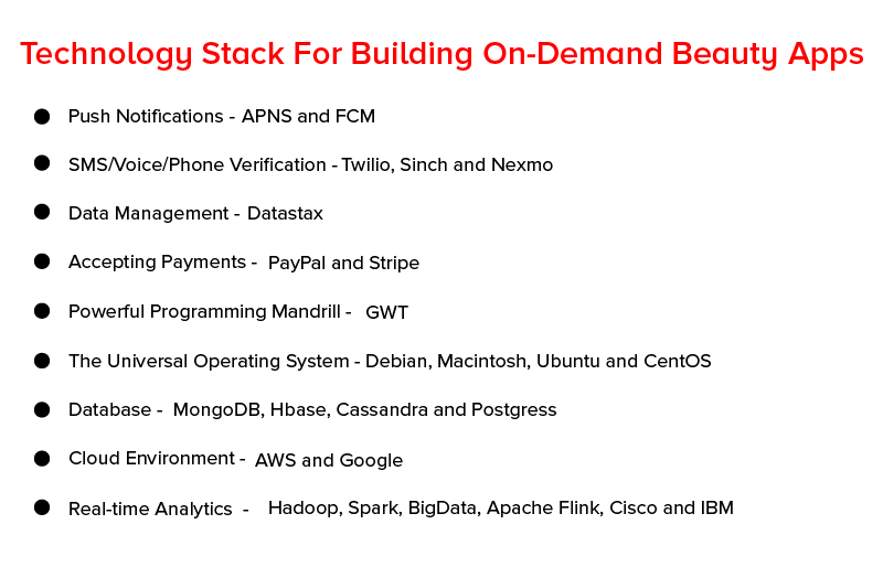 Technology stack for building on demand beauty apps
