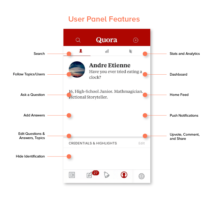 User panel features