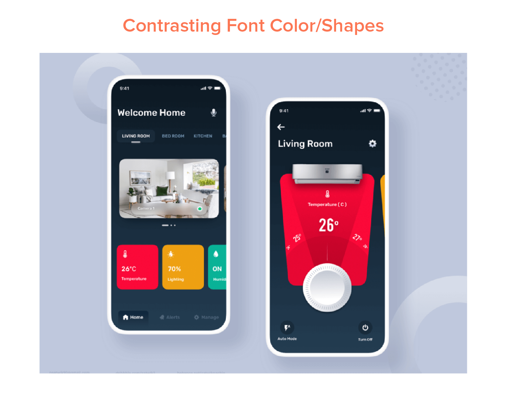 Contrasting Font Color and Shapes