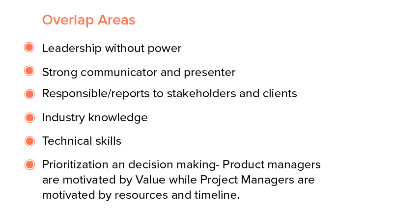 Where do Product and Project Managers overlap