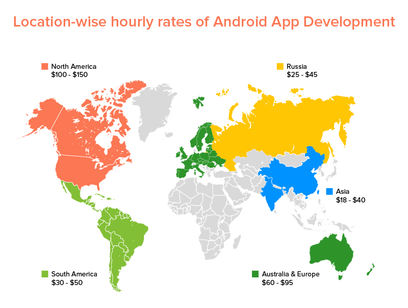 Location-wise android app development cost