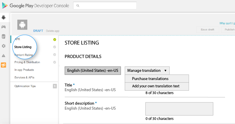 Store Listing Panel
