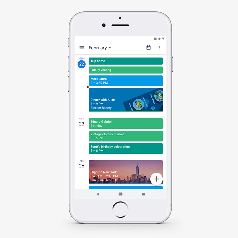 Minimal design concept in google calender