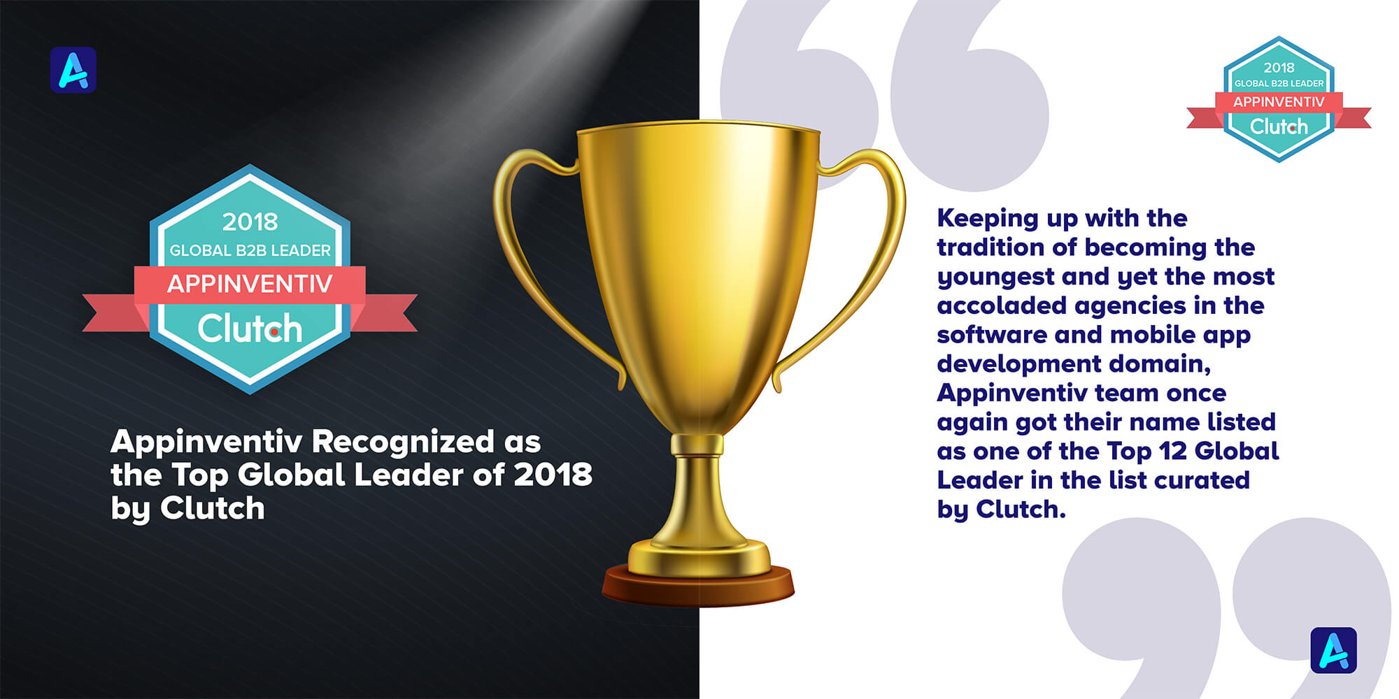 Appinventiv Recognized as the Top Global Leader of 2018 by Clutch