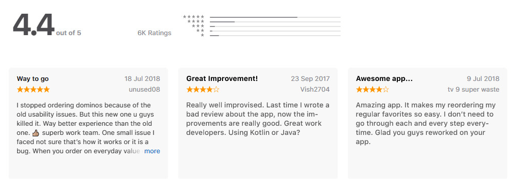 Dominos - App Rating & Reviews