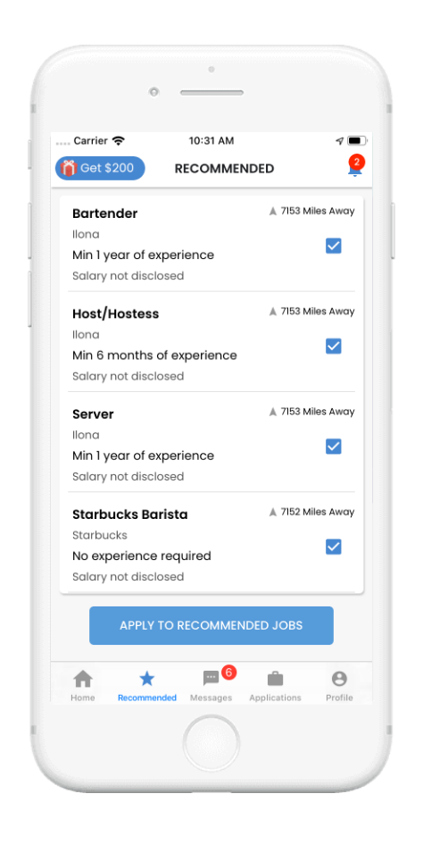 Jobget Recommended Job Mobile Screen