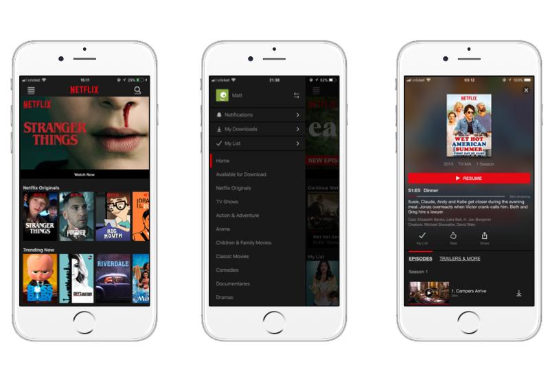 UI/UX analysis of  Netflix-like app