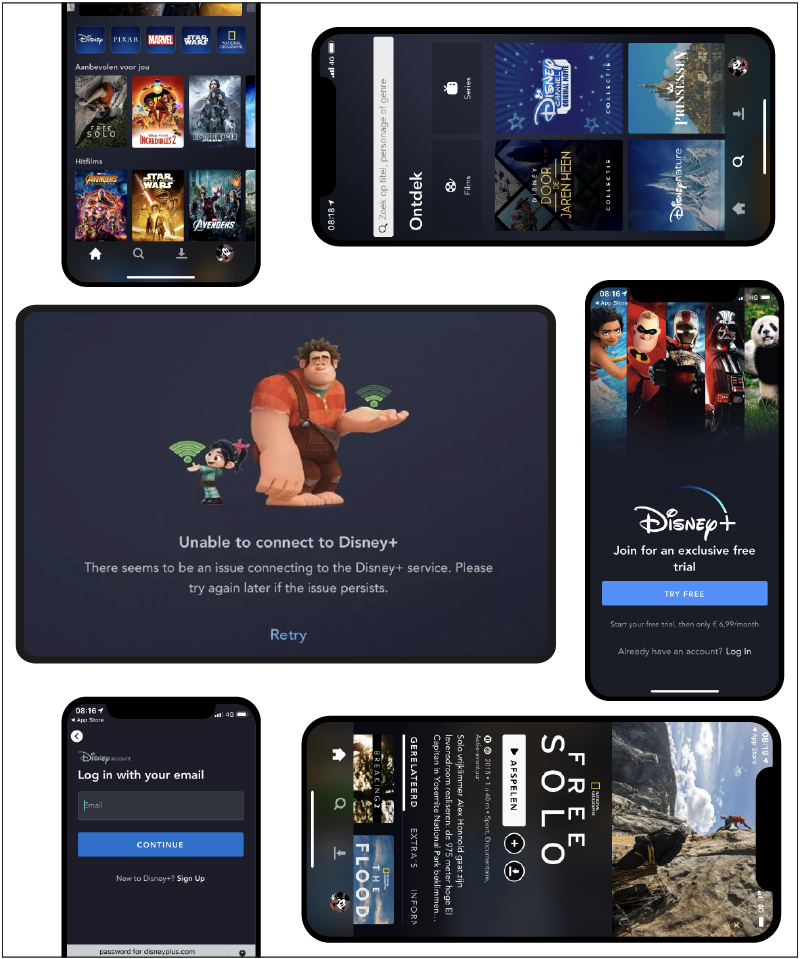 Disney plus app screens