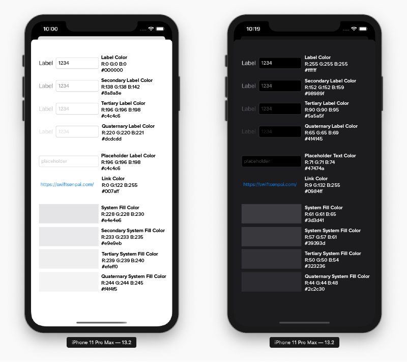 semantic colors in light and dark mode