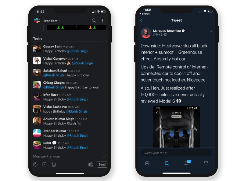 healthy dark mode app design