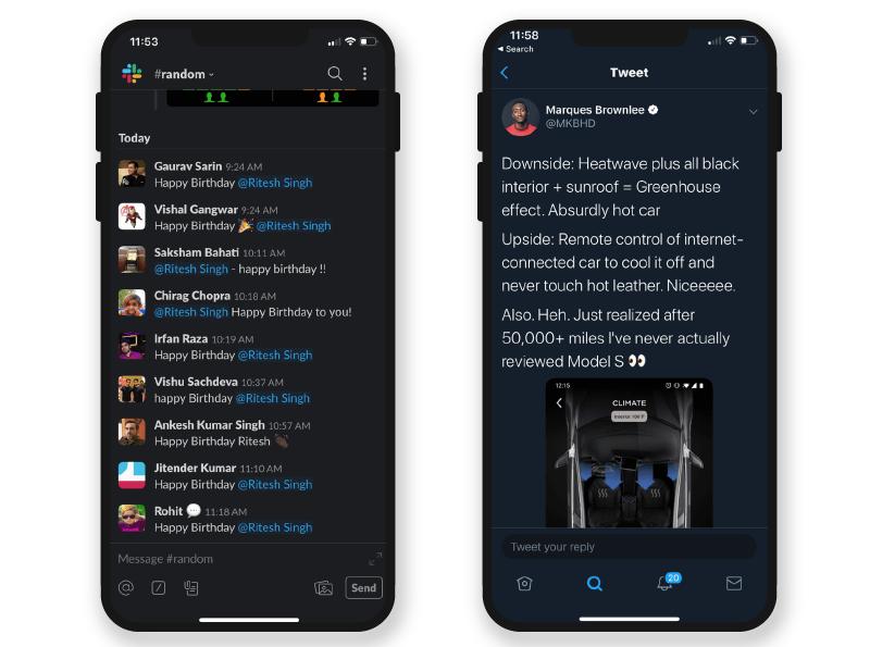 healthy dark mode app design