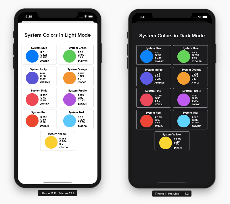 system colors in light and dark mode
