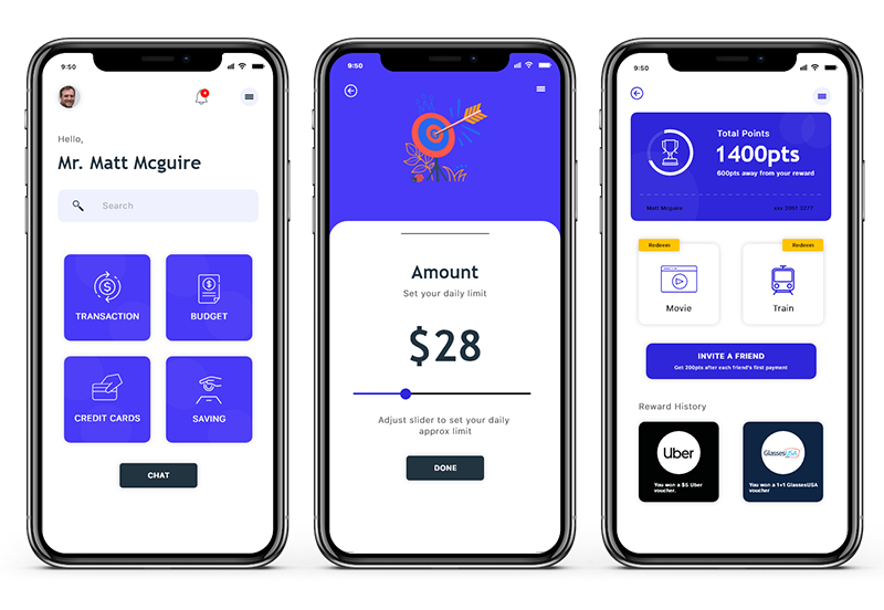 budgeting app screens