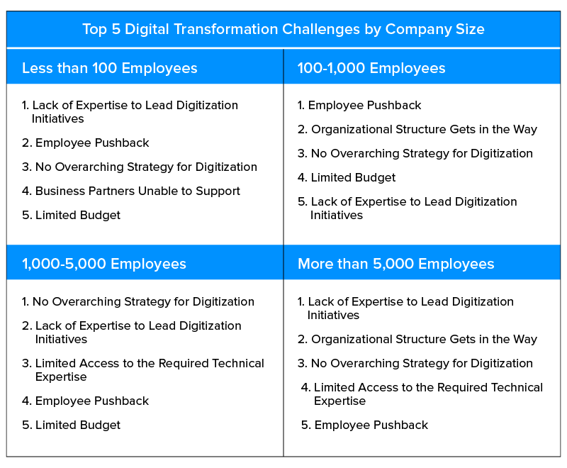 digital transformation challenges by company size
