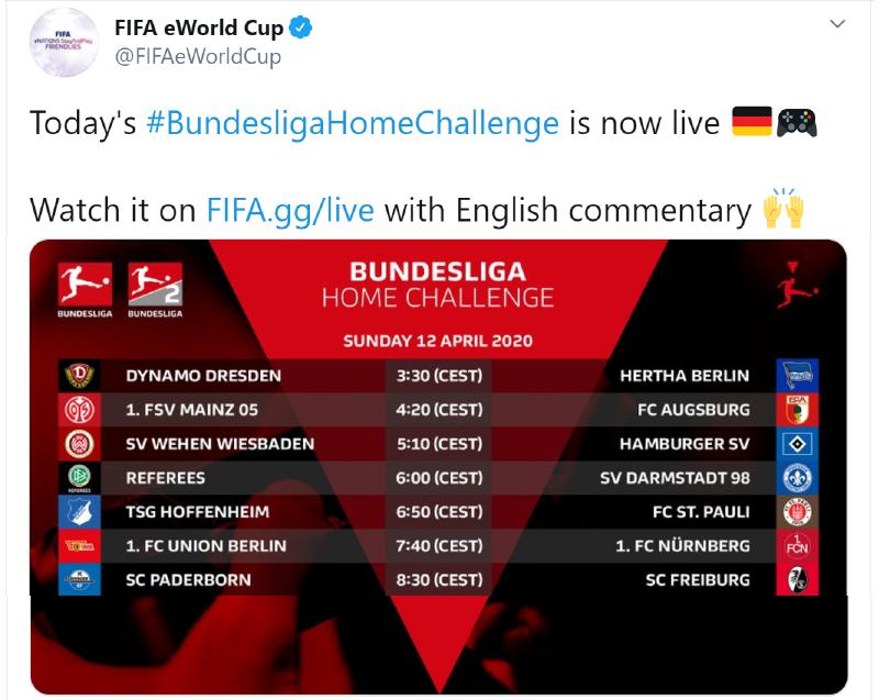 tweet by fifa eWorld cup