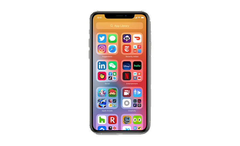 New home screen with app library