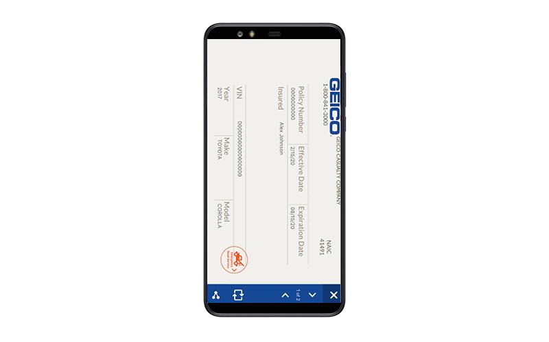 insurance app document upload feature