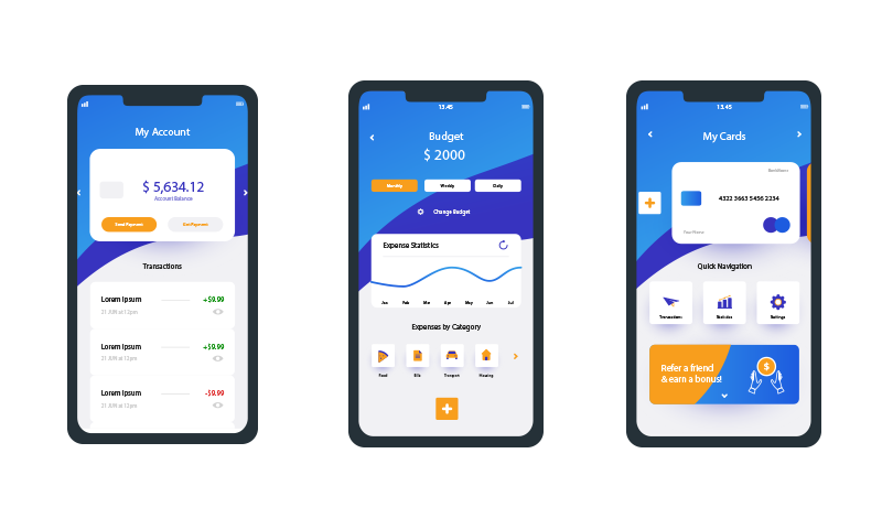 Cash App screens for cost section