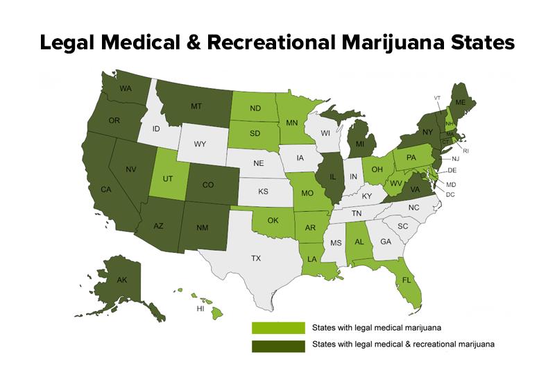 legal medical and recreational marijuana states